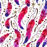 Ethnic feather seamless pattern in boho style. Trendy beautiful bright tropical patterned elements, sketch, tribal template, t-shirt design. Aztec background stock illustration