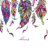 Ethnic Feathers Sketch Stock Images