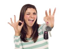 Ethnic Female with Car Keys and Okay Hand Sign Royalty Free Stock Photography