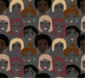 Ethnic female faces abstract pattern on dark background. Ethnic female faces abstract pattern. young weman with make up and hairstyle stock illustration