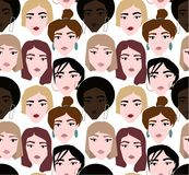Ethnic female faces abstract pattern on white background. Ethnic female faces abstract pattern. young weman with make up and hairstyle vector illustration
