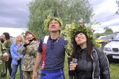 Ethnic Festival `Abalaksky field.` The historical reconstruction of the 13th century. Siberia. Russia. July 2016. Tourists in a camp in Siberia. Village Abalak Royalty Free Stock Image