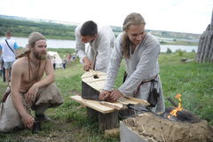Ethnic Festival `Abalaksky field.` The historical reconstruction of the 13th century. Siberia. Russia. July 2016. Tourists in a camp in Siberia. Village Abalak Stock Images