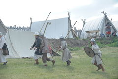Ethnic Festival `Abalaksky field.` The historical reconstruction of the 13th century. Siberia. Russia. July 2016. Tourists in a camp in Siberia. Village Abalak Royalty Free Stock Images