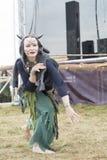 Ethnic Festival of Ancient Culture. Folk dances in the Russian Village.  stock photo