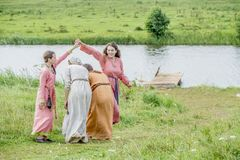 Ethnic Festival of Ancient Culture. Folk dances in the Russian Village.  royalty free stock photos