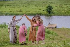 Ethnic Festival of Ancient Culture. Folk dances in the Russian Village.  stock photography