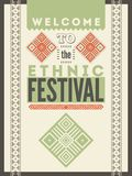 Ethnic festival poster. Typographical design with folk pattern ornament. Vector illustration. Stock Image
