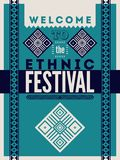 Ethnic festival poster. Typographical design with folk pattern ornament. Vector illustration. Royalty Free Stock Photography