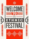 Ethnic festival poster. Typographical design with folk pattern ornament. Vector illustration. Ethnic festival poster. Typographical design with folk pattern Stock Photo
