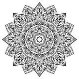 Ethnic filigree mandala. Ethnic mandala on a white background. Sketch of tattoo. Round contour design element. Template for mehendi stock illustration