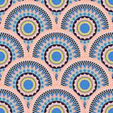 Ethnic fish scale pattern seamless ornament. Pastel pink and blue round aztec shapes background royalty free illustration