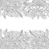 Ethnic floral background pattern with eye. Boho design. Black and white ornament for greeting card, coloring book, invitation. Vector illustration vector illustration