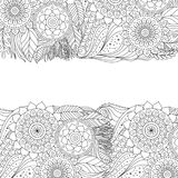 Ethnic floral pattern with mandala. Ethnic floral background pattern with mandalas. Boho design. Black and white ornament for greeting card, coloring book stock illustration