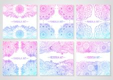 Ethnic floral cards with mandala. Set of cards with ethnic floral lace pattern with mandala and lotus flower. Boho design. Pink and blue oriental Asian Indian royalty free illustration