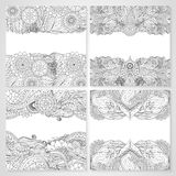 Ethnic floral cards with mandala. Set of cards with ethnic floral lace pattern with mandala and abstract patterns. Boho design. Black and white oriental Asian vector illustration