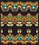Ethnic floral paisley stripe pattern, border set Royalty Free Stock Photography