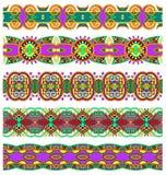 Ethnic floral paisley stripe pattern, border set Stock Photo