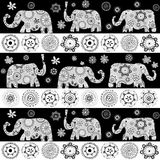 Ethnic floral patterned elephants background Stock Image