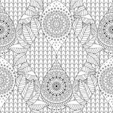 Tribal vintage ethnic seamless pattern. With mandalas. Black and white oriental tiled background, boho style. Vector illustration stock illustration