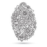 Ethnic floral zentangle, black, white background pattern. Stock Photography