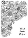 Ethnic floral zentangle, doodle background pattern circle in . Stock Photography