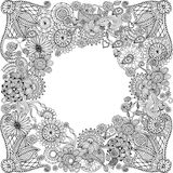Ethnic floral zentangle, doodle background Stock Photo