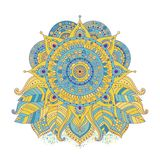 Ethnic flower mandala vector. Ethnic flower mandala, colored yellow and blue isolated decorative element for boho style design. Oriental asian motif ornament stock illustration