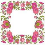 Ethnic flowers Floral folk art frame Folkart Flower Stock Photo