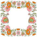 Ethnic flowers Floral folk art vorder Folkart Flower pattern Vintage background Vector illustration Ethnic decoration flowers  fol Stock Photos