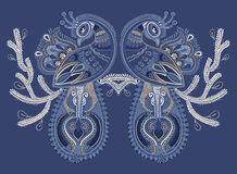 Ethnic folk art of two peacock bird with flowering Royalty Free Stock Images