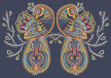 Ethnic folk art of two peacock bird with flowering Royalty Free Stock Photos