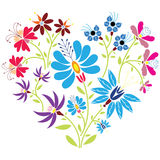 Ethnic folk floral pattern in heart shape on white background Stock Photos