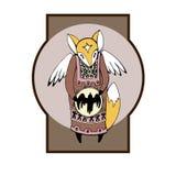 Ethnic Fox shaman with wings stock illustration