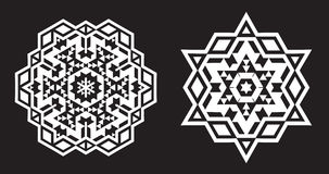 Ethnic Fractal Mandala Vector looks like Snowflake or Maya Aztec. Pattern or Flower stock illustration