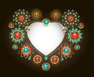 Ethnic frame in the shape of heart Royalty Free Stock Image