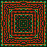 Ethnic Geometric Seamless Pattern Mosaic. Digital art techinque ethnic stlye seamless pattern mosaic with geometric intricate design in vivid green, black and Royalty Free Illustration
