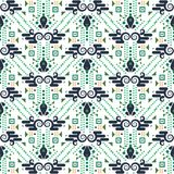 Ethnic geometric seamless vector pattern. Geometric shapes and dots blue and green repeat background for print materials Stock Photo