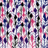 Ethnic Geometrical Feather seamless background. Hand drawn illustration. Vector Royalty Free Stock Images