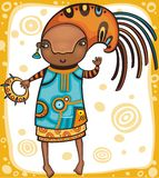 Ethnic girl 1. Colorful portrait of the dancing African girl with ethnic musical instrument Royalty Free Stock Photography