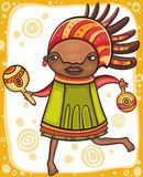 Ethnic girl 2. Colorful portrait of the dancing African girl with ethnic musical instrument Stock Photo