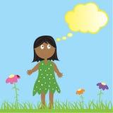 Ethnic Girl Thinking vector illustration