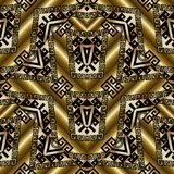 Ethnic gold 3d seamless pattern with tribal ornaments. Tribal gold meander seamless patterns. Vector 3d golden background wallpaper with geometric shapes Stock Photo