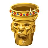 Ethnic Golden vase with human face isolated on a white background. Vector illustration. stock illustration