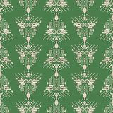 Ethnic green and beige boho simple geometric seamless vector pattern. Geometric shapes and dots aztec monochrome repeat background for print materials vector illustration