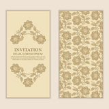 Ethnic greeting card, invitation or wedding with lace and floral Stock Images