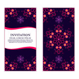 Ethnic greeting card, invitation or wedding with lace and floral Stock Image
