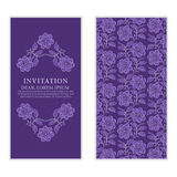 Ethnic greeting card, invitation or wedding with lace and floral Stock Photo