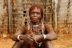 Ethnic  Hamer woman in the traditional dress from Ethiopia Royalty Free Stock Images