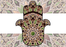 Ethnic hamsa background. Card with a pattern in ethnic style - maroon-brown hamsa with mandala on background Stock Image